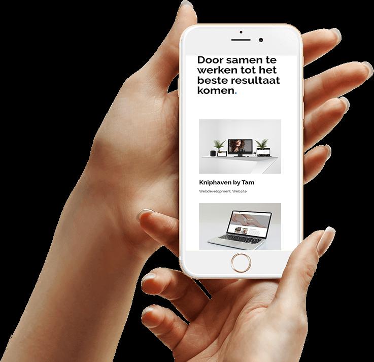 Mobiel in hand - Mannetje van het web